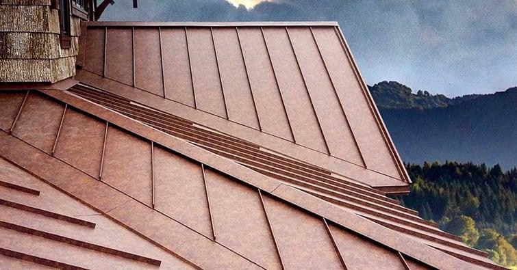 Standing Seam Metal Roof in Fresh Rust