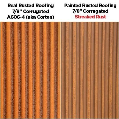 Side By Side Real Corten/A606-4 and Streaked Rust®