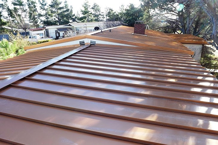 Low Slope Standing Seam Roof In Copper Penny