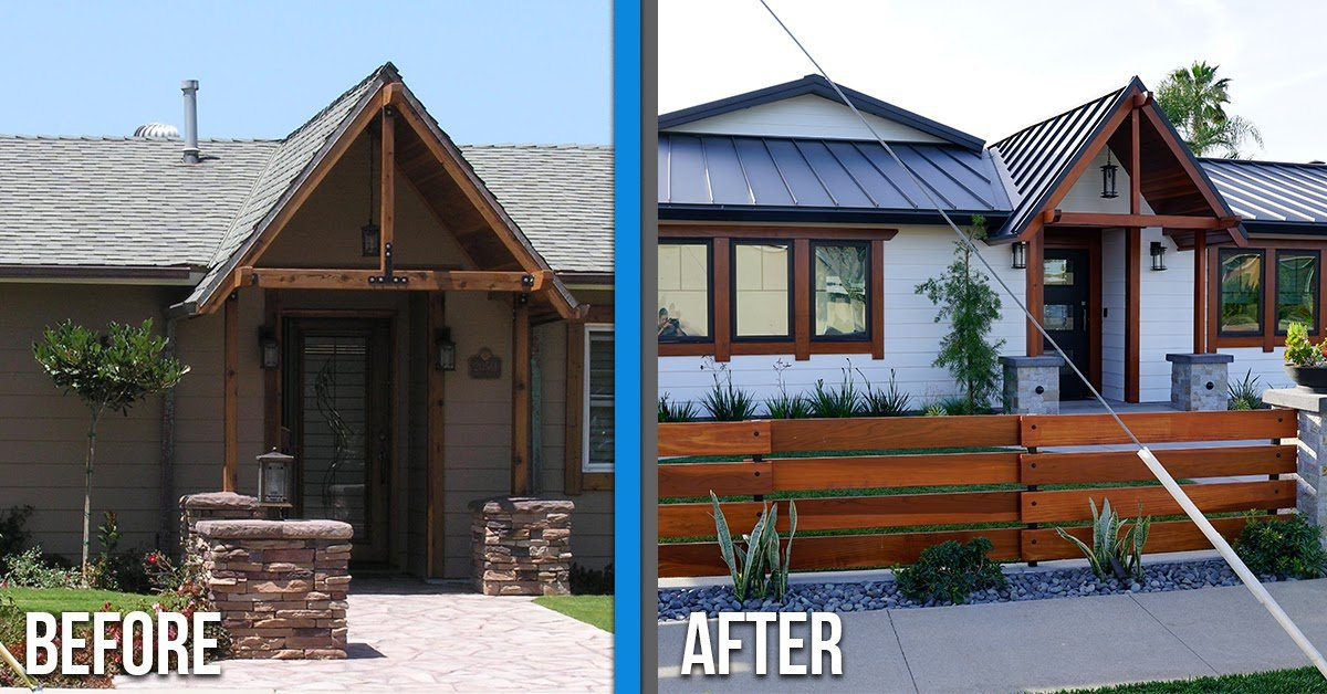 Before and after with a standing seam metal roof
