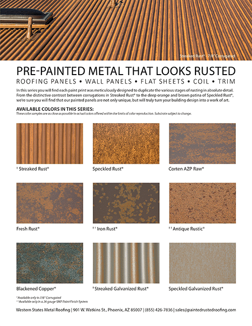 Painted Rusted Roofing Color Card